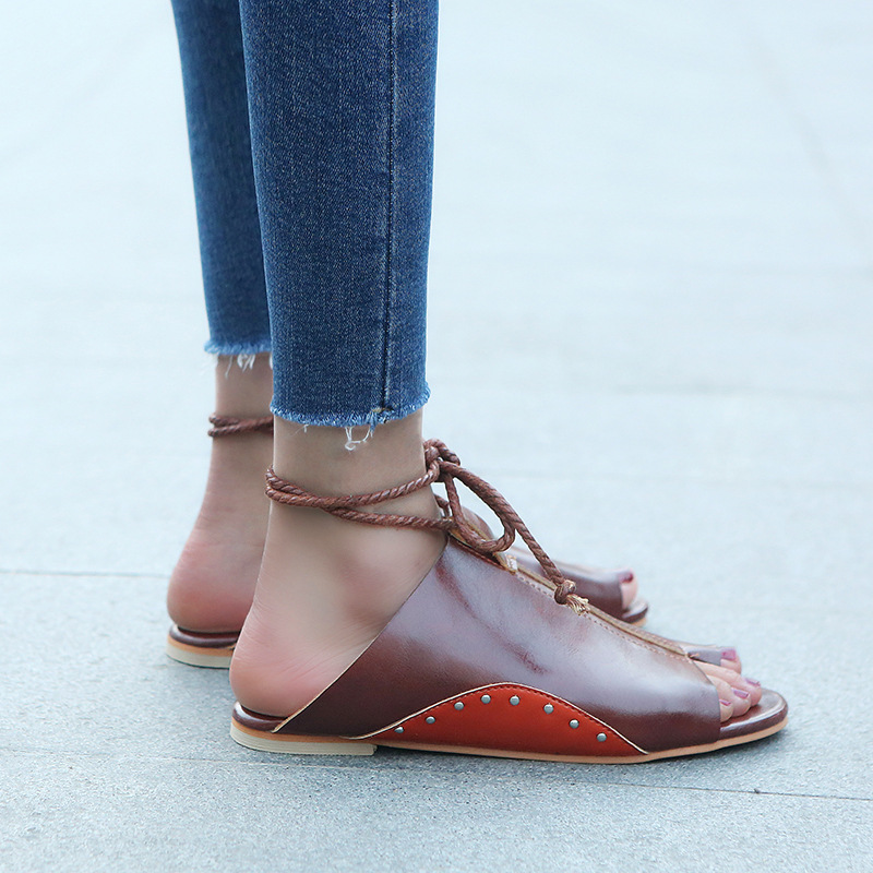 thumbnail 29 - Women's Fashion Flat Sandals Open Toe Buckle Slippers Shoes Beach Lace Up Summer