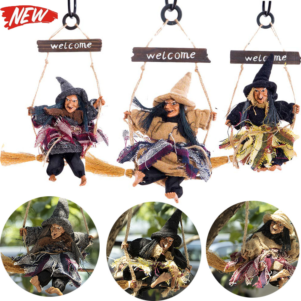 Flying broomstick witch Pendant Scary witch pendant Halloween Bar decoration