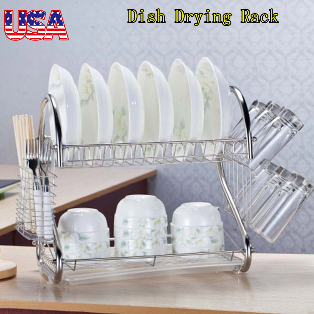 2-Tier Dish Drying Rack Stainless Steel Drainer Tray Kitchen Space Saver Storage