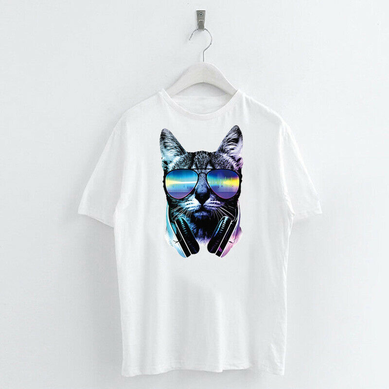Animal-Heat-Printed-T-Shirts-Crew-Neck-Short-Sleeve-Loose-Summer-Women-Top-Tee thumbnail 4