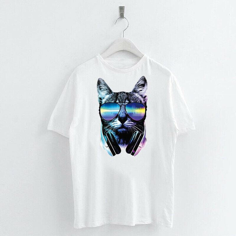 Animal-Heat-Printed-T-Shirts-Crew-Neck-Short-Sleeve-Loose-Summer-Women-Top-Tee thumbnail 5