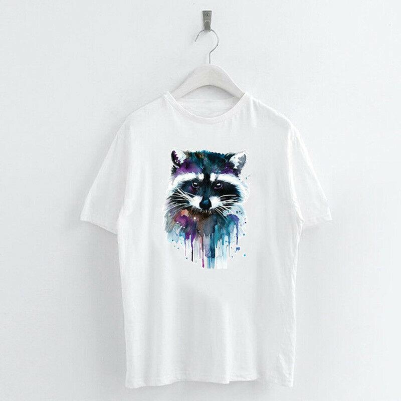 Animal-Heat-Printed-T-Shirts-Crew-Neck-Short-Sleeve-Loose-Summer-Women-Top-Tee thumbnail 12