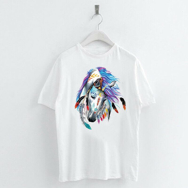 Animal-Heat-Printed-T-Shirts-Crew-Neck-Short-Sleeve-Loose-Summer-Women-Top-Tee thumbnail 17