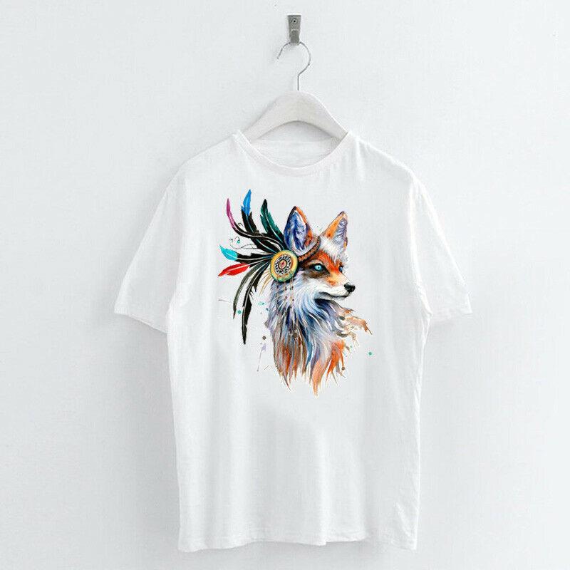 Animal-Heat-Printed-T-Shirts-Crew-Neck-Short-Sleeve-Loose-Summer-Women-Top-Tee thumbnail 21