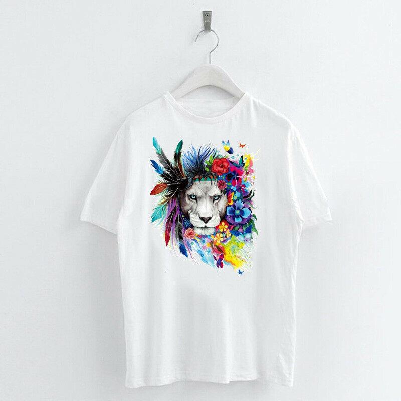 Animal-Heat-Printed-T-Shirts-Crew-Neck-Short-Sleeve-Loose-Summer-Women-Top-Tee thumbnail 25