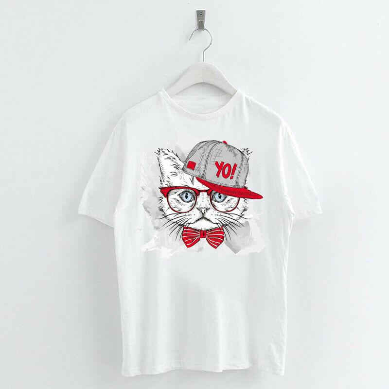 Animal-Heat-Printed-T-Shirts-Crew-Neck-Short-Sleeve-Loose-Summer-Women-Top-Tee thumbnail 27