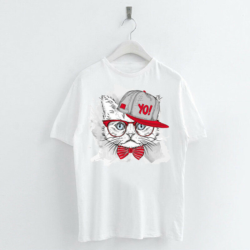 Animal-Heat-Printed-T-Shirts-Crew-Neck-Short-Sleeve-Loose-Summer-Women-Top-Tee thumbnail 29
