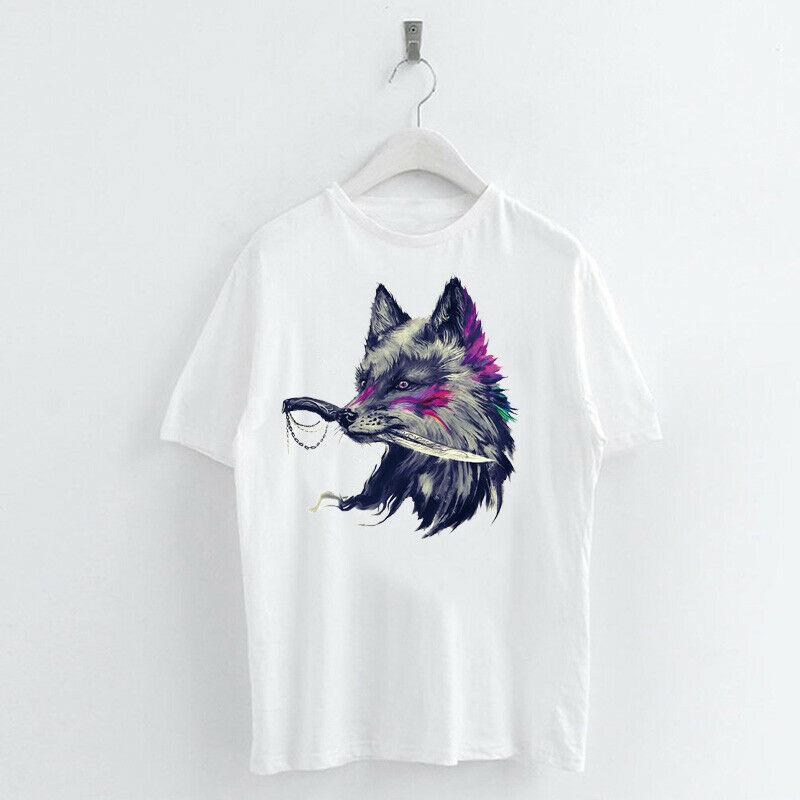 Animal-Heat-Printed-T-Shirts-Crew-Neck-Short-Sleeve-Loose-Summer-Women-Top-Tee thumbnail 37