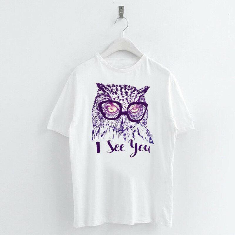 Animal-Heat-Printed-T-Shirts-Crew-Neck-Short-Sleeve-Loose-Summer-Women-Top-Tee thumbnail 47