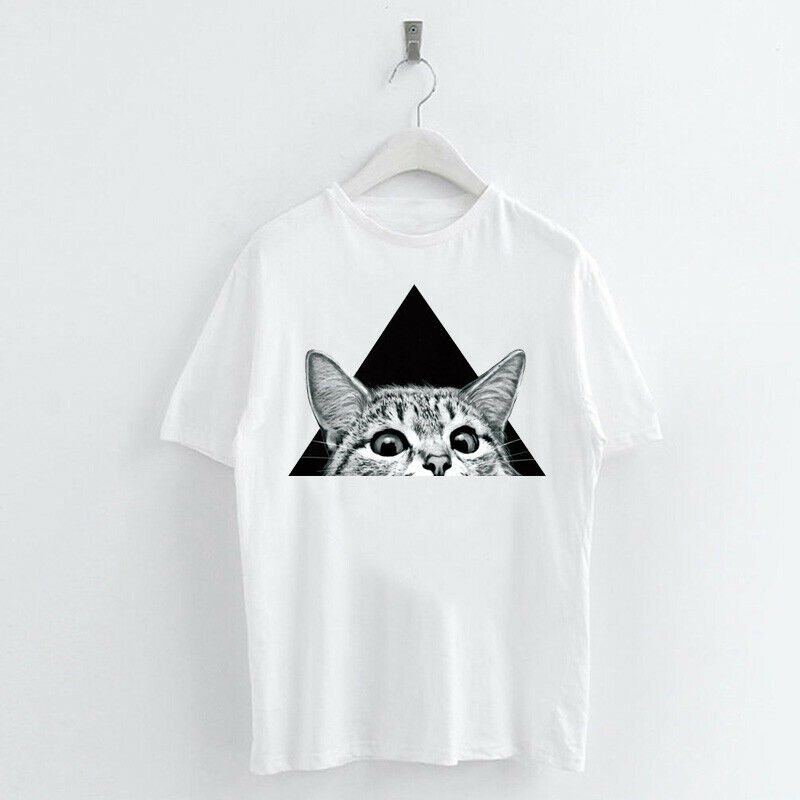 Animal-Heat-Printed-T-Shirts-Crew-Neck-Short-Sleeve-Loose-Summer-Women-Top-Tee thumbnail 51