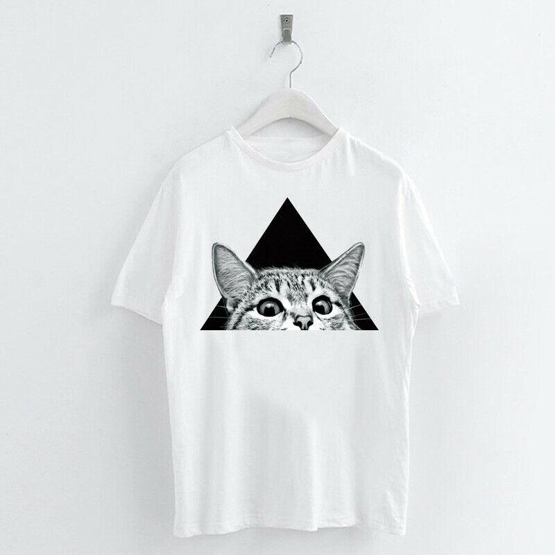 Animal-Heat-Printed-T-Shirts-Crew-Neck-Short-Sleeve-Loose-Summer-Women-Top-Tee thumbnail 52