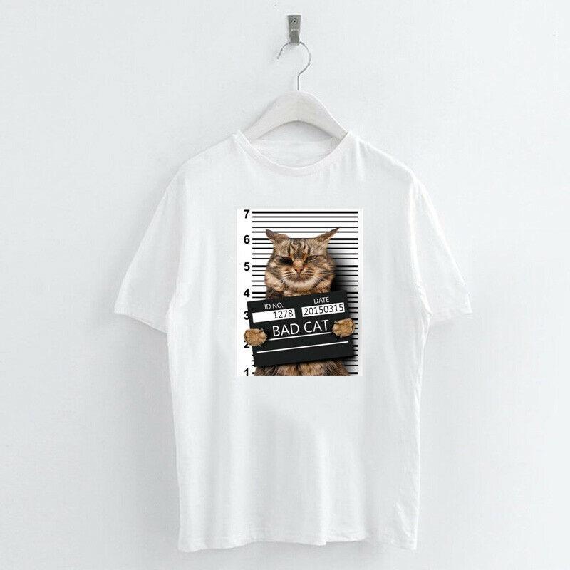 Animal-Heat-Printed-T-Shirts-Crew-Neck-Short-Sleeve-Loose-Summer-Women-Top-Tee thumbnail 55