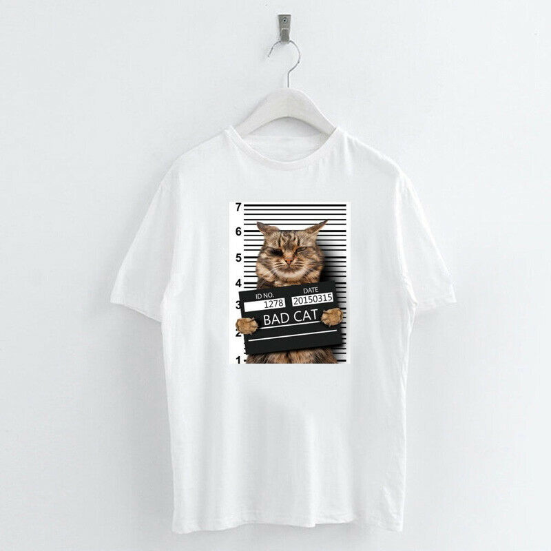 Animal-Heat-Printed-T-Shirts-Crew-Neck-Short-Sleeve-Loose-Summer-Women-Top-Tee thumbnail 57