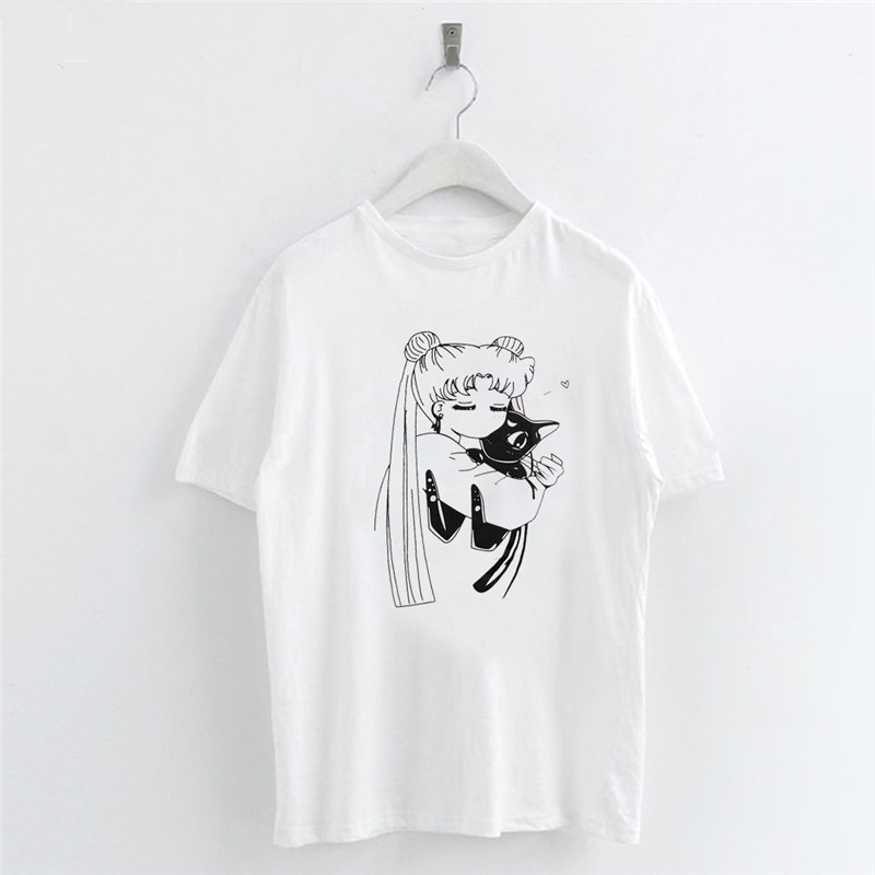 Anime-Sailor-Moon-Cat-Cartoon-Women-T-Shirt-Casual-Short-Sleeve-O-Neck-Tee