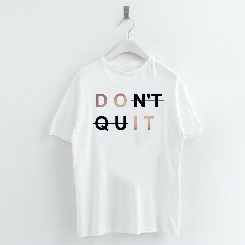 Harajuku-Words-Letter-Women-T-shirt-Summer-Tee-Tops-Never-Give-up-I-can-I-will thumbnail 8