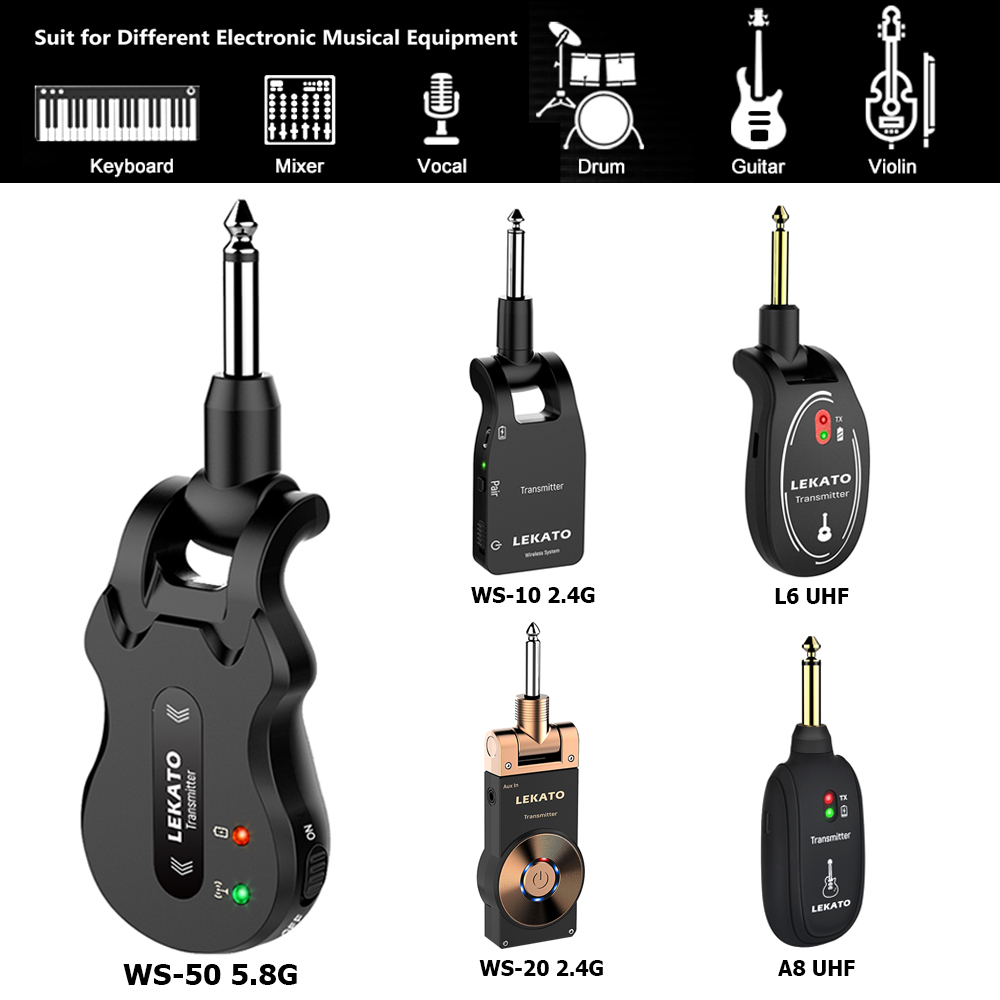 LEKATO 5.8G Wireless Guitar System Wireless Audio Electric Guitar Transmitter 4