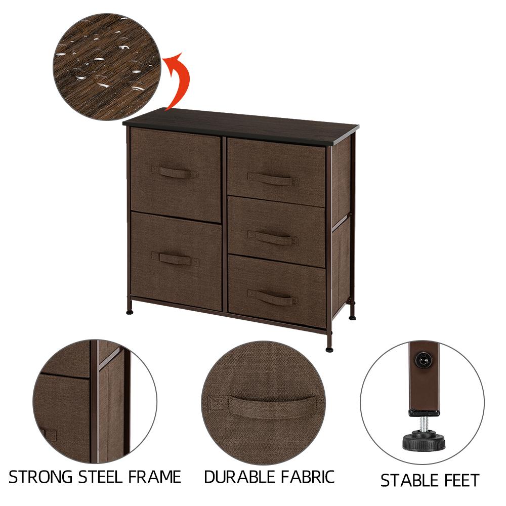3-Layer-Drawer-Dresser-Storage-Unit-Shelf-Organizer-Bins-Chest-5-Fabric-Drawers miniature 15
