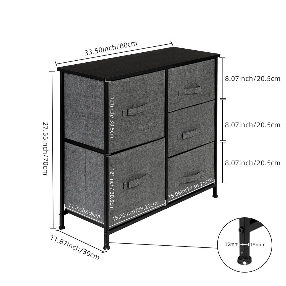 3-Layer-Drawer-Dresser-Storage-Unit-Shelf-Organizer-Bins-Chest-5-Fabric-Drawers miniature 35