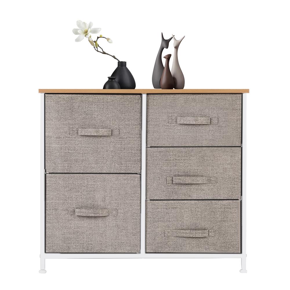 3-Layer-Drawer-Dresser-Storage-Unit-Shelf-Organizer-Bins-Chest-5-Fabric-Drawers miniature 46