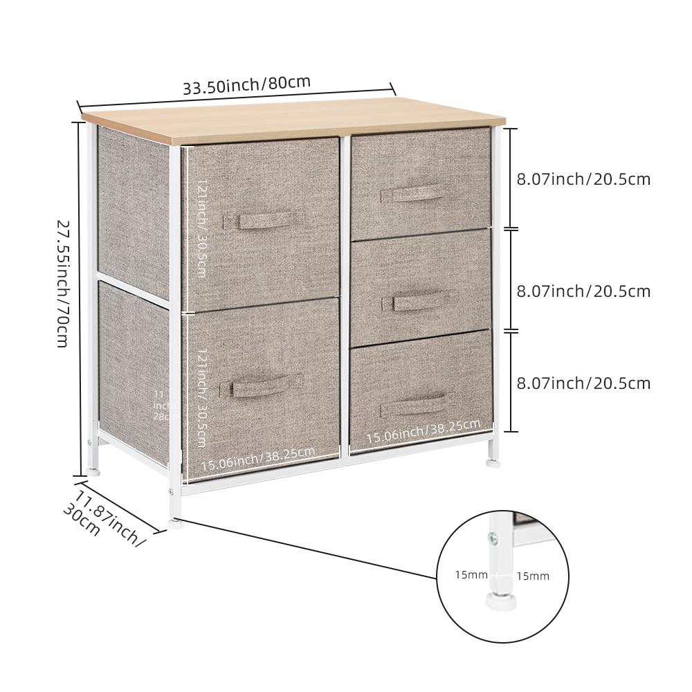 3-Layer-Drawer-Dresser-Storage-Unit-Shelf-Organizer-Bins-Chest-5-Fabric-Drawers miniature 47