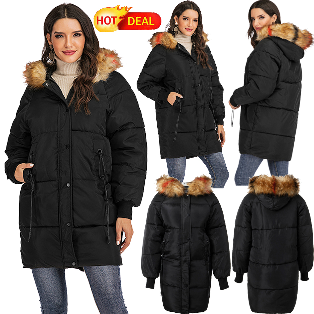 Winter Women's Down Cotton Parka Short Fur Collar Hooded Coa