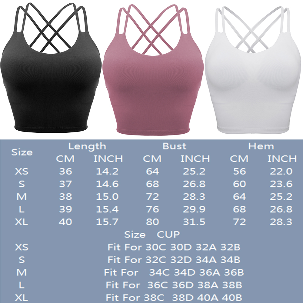 thumbnail 27 - Women Yoga Sports Bra Backless Fitness Crop Tops Cross Back Padded Casual Top LB