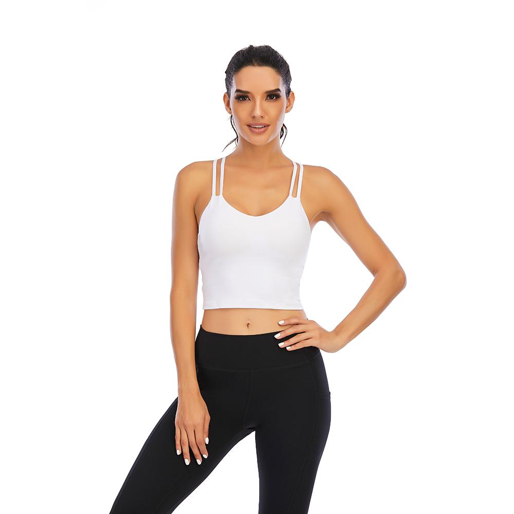 thumbnail 28 - Women Yoga Sports Bra Backless Fitness Crop Tops Cross Back Padded Casual Top LB