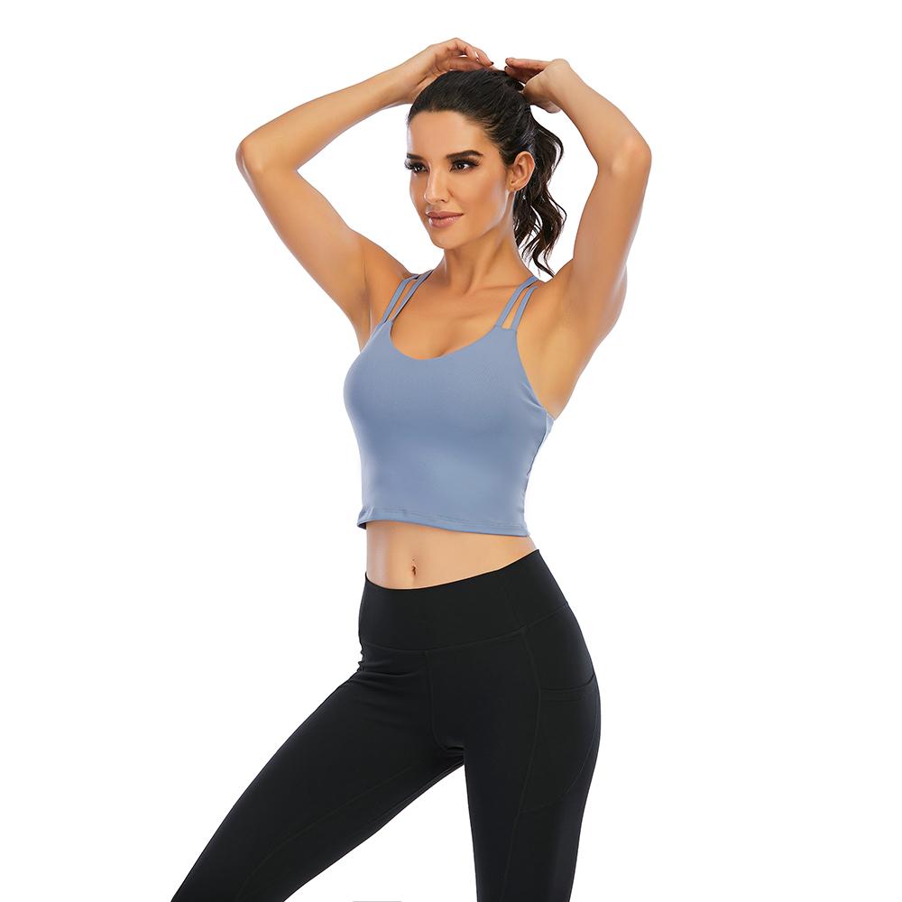 thumbnail 50 - Women Yoga Sports Bra Backless Fitness Crop Tops Cross Back Padded Casual Top LB