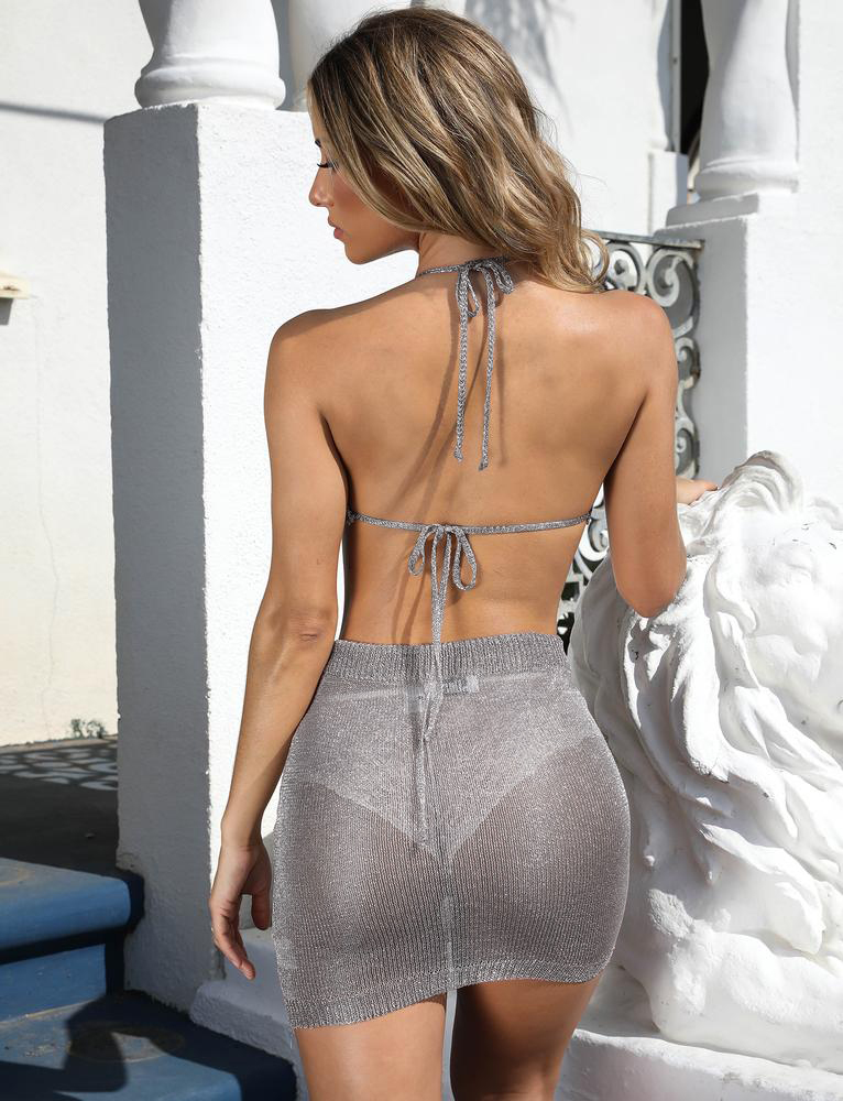 Sexy-Halter-Women-2-Piece-Bodycon-Crop-Top-amp-Skirt-Set-Backless-Dress-Party thumbnail 9