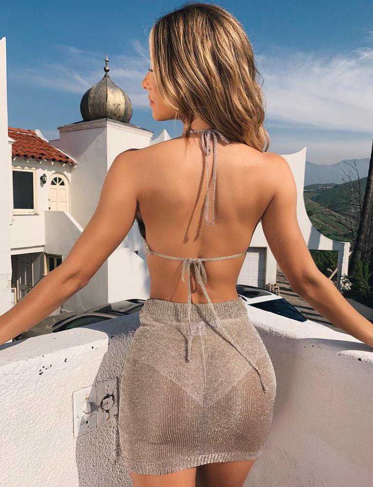 Sexy-Halter-Women-2-Piece-Bodycon-Crop-Top-amp-Skirt-Set-Backless-Dress-Party thumbnail 14