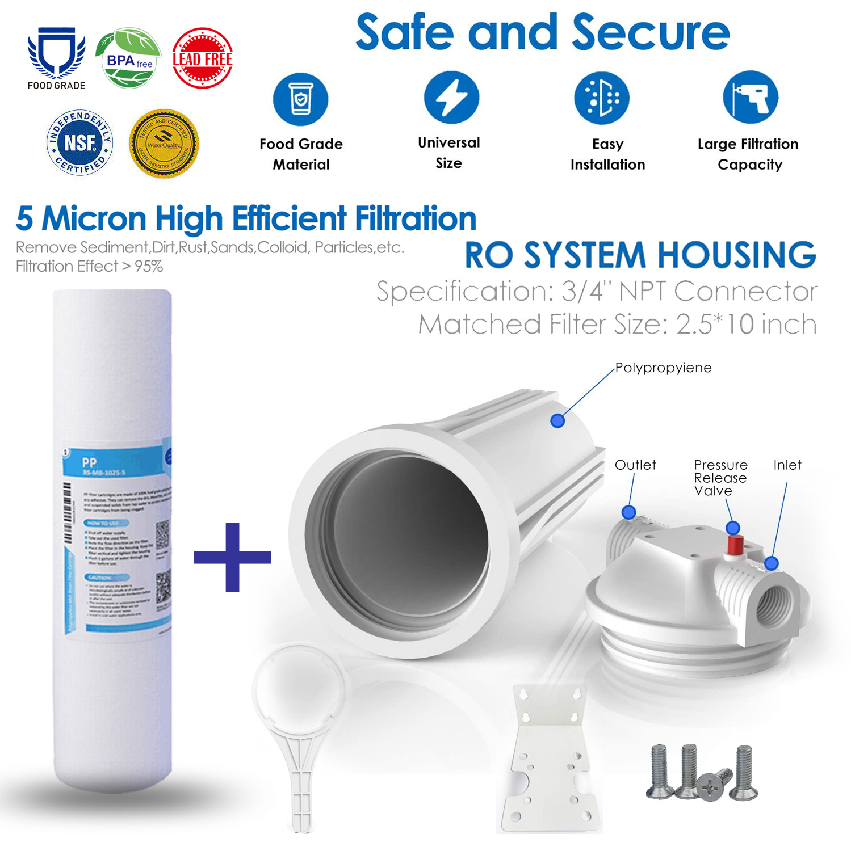 "10"" Inch Big Blue Water Filter Housing Kit w/ 5 Mic Sediment"