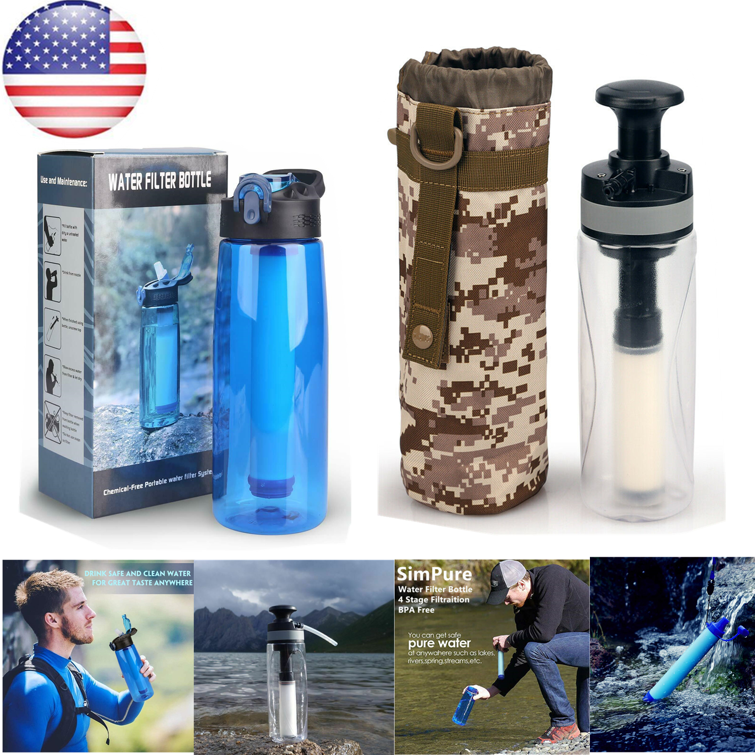 Portable Personal Water Filter Straw Camping Purifies Travel removes Viruses