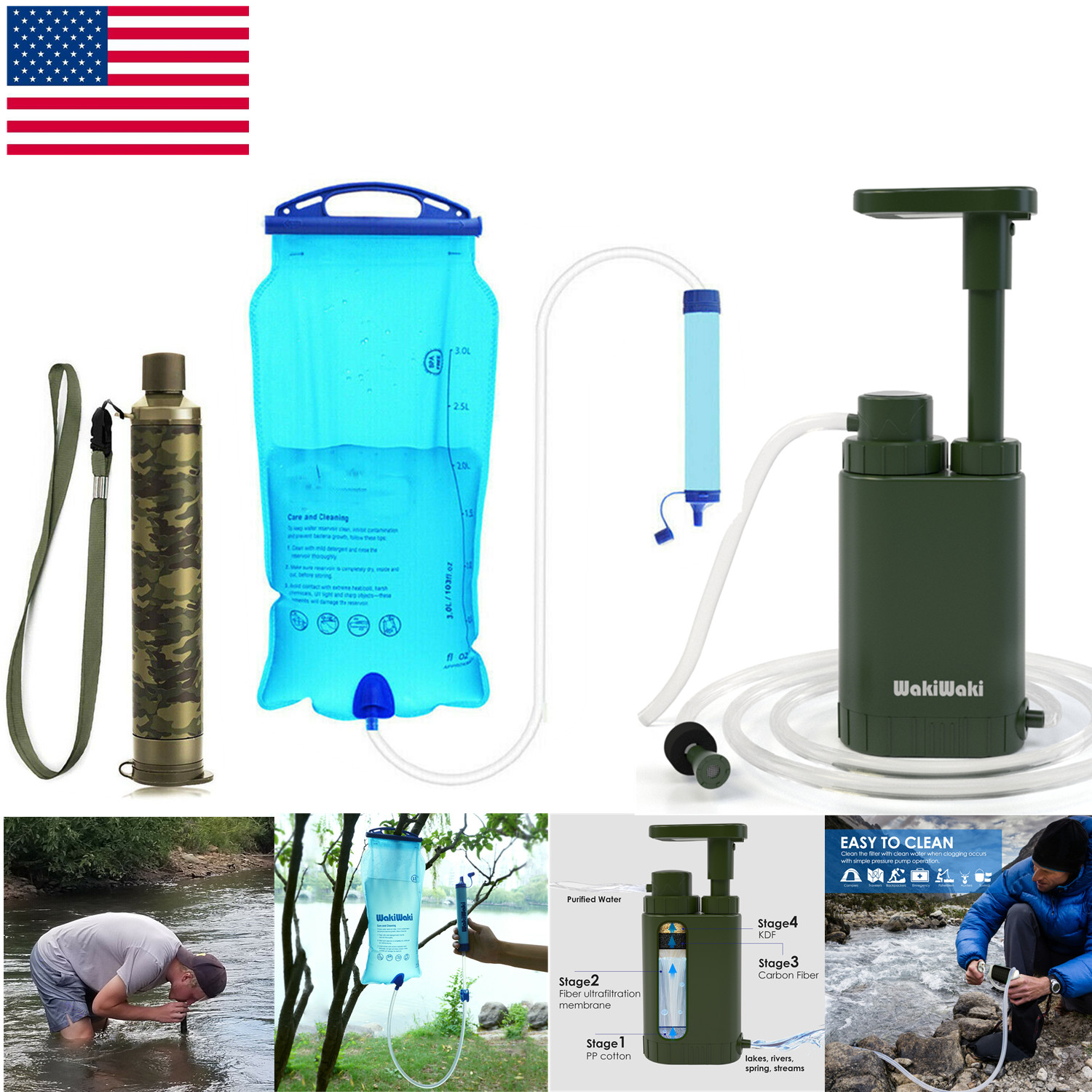 Survival kit Water Filter Purification Emergency Gear Straw Camping Hiking