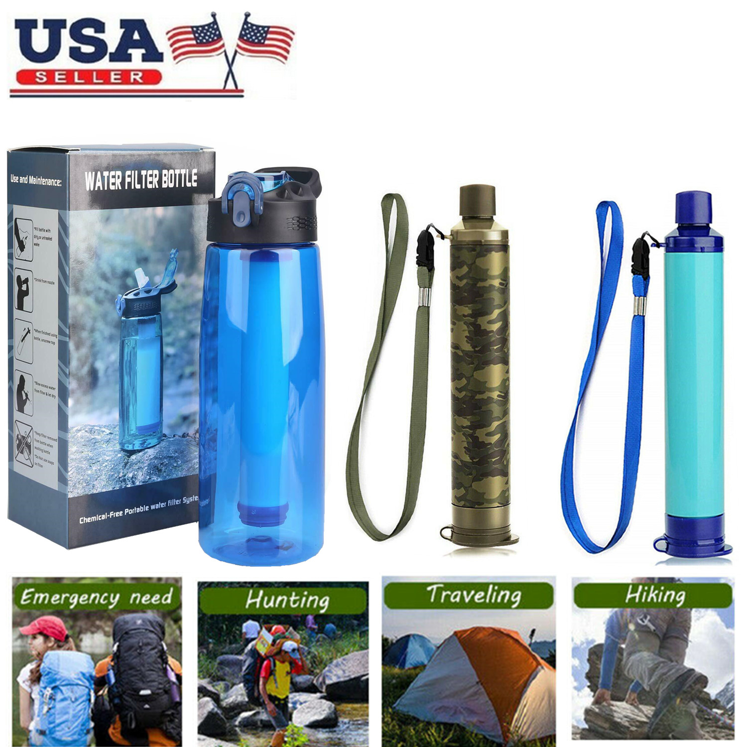 Survival Water Filter Straw Purifier Filtration Bottle Travel Camping Emergency