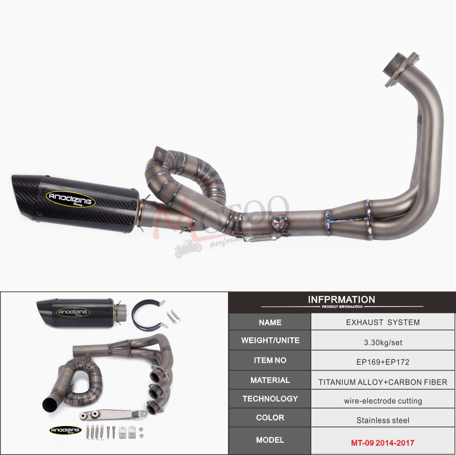 Soto-racing Full Exhaust System Pipe For Yamaha MT09 MT-09 FZ09 non tracer 14-18