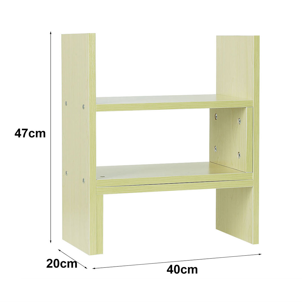 Wood Desktop Bookshelf Bookcase Organizer Rack Unit Storage Box Desk Top Shelves