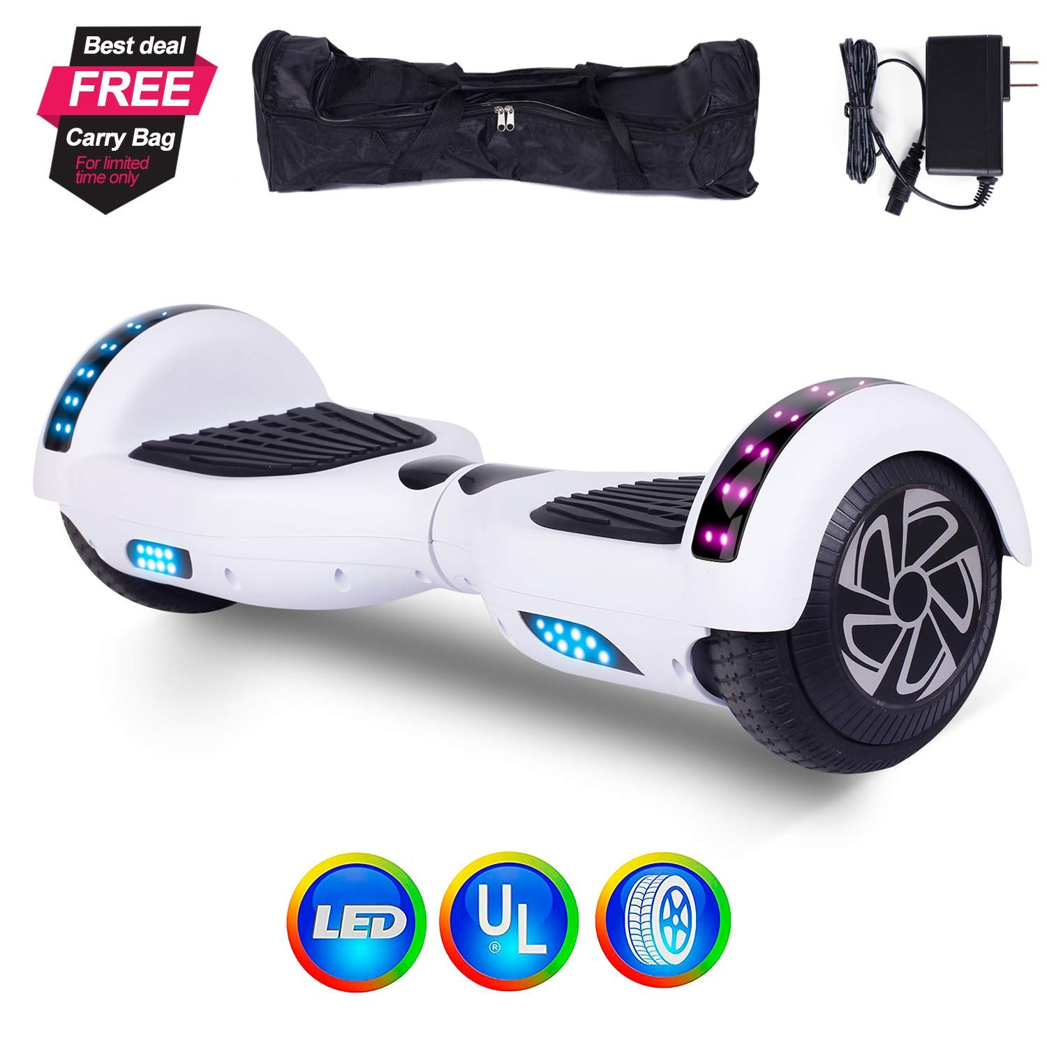 6 5 Hoverboard Self Balancing Scooter 2 Wheels Electric Dual Motor Led