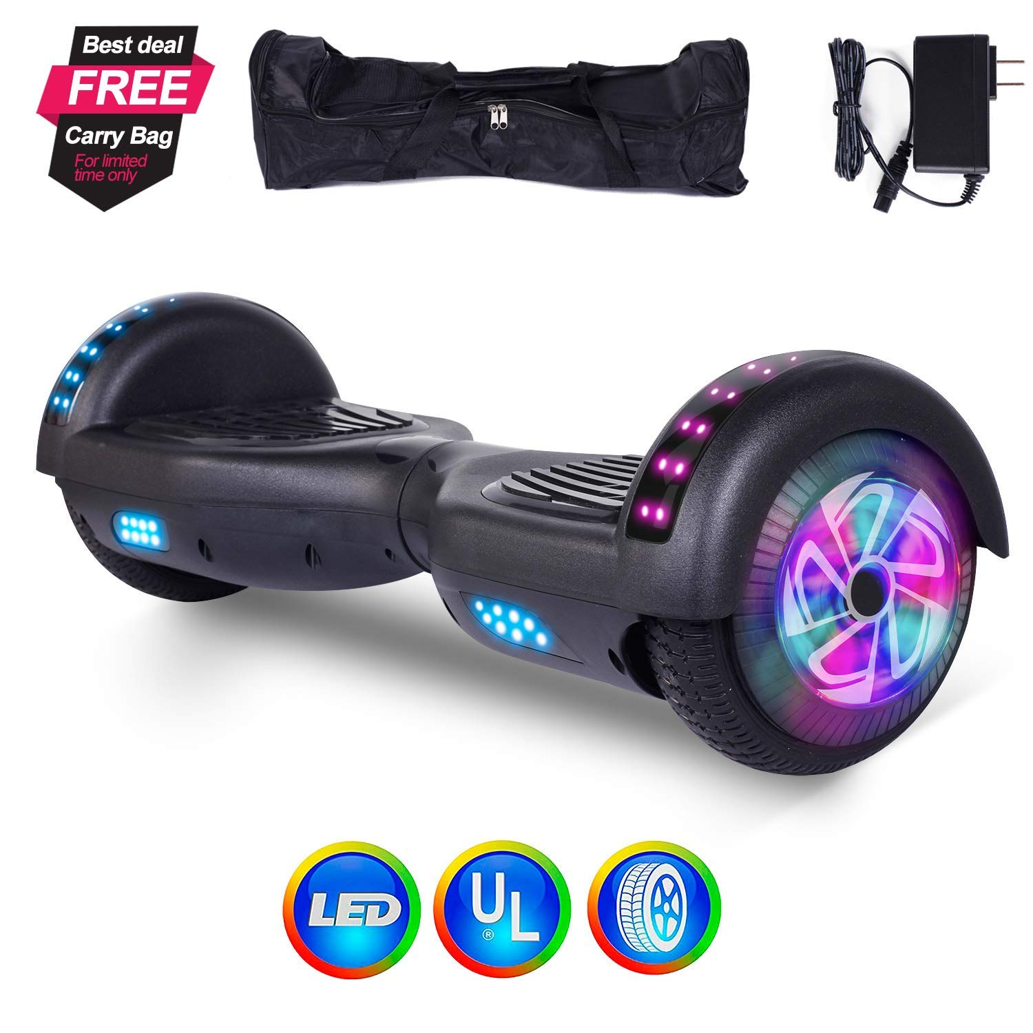 6 5 2 Wheels Electric Scooter Hoverboard Self Balancing Dual Motor Led