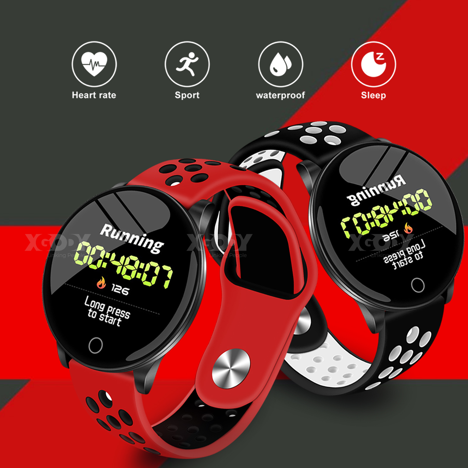 XGODY Waterproof IP67 Smart Watch Sleep Monitor Tracker Pedo