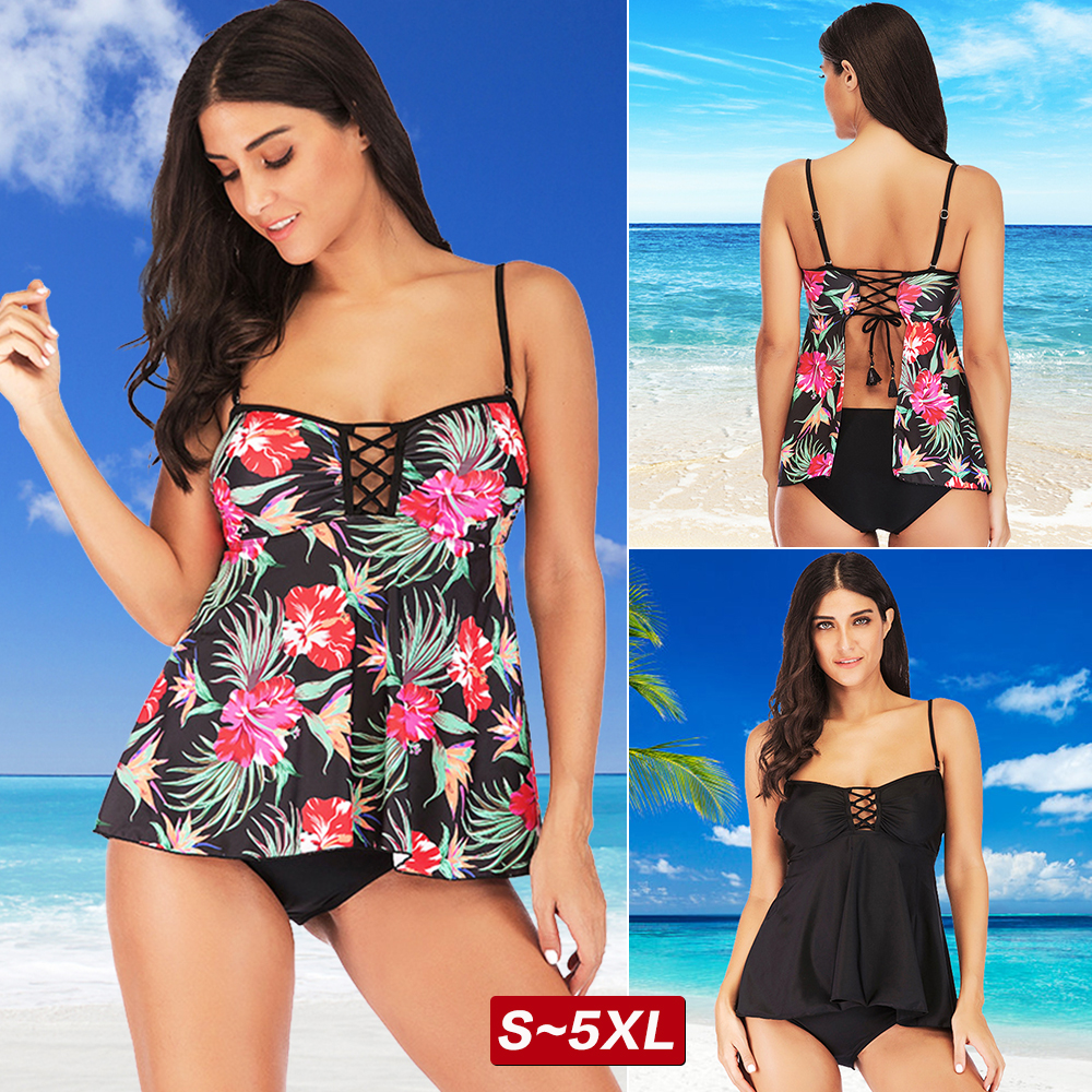 cec43110dd Women's Plus Size Bathing Suits Tankini Push-up Bra Two Piece Halter  Swimsuit US