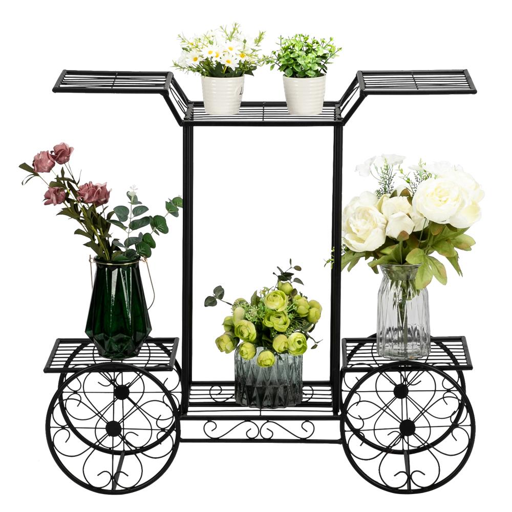 6-Tier Garden Cart Stand Flower Rack Display Home Flower Pot