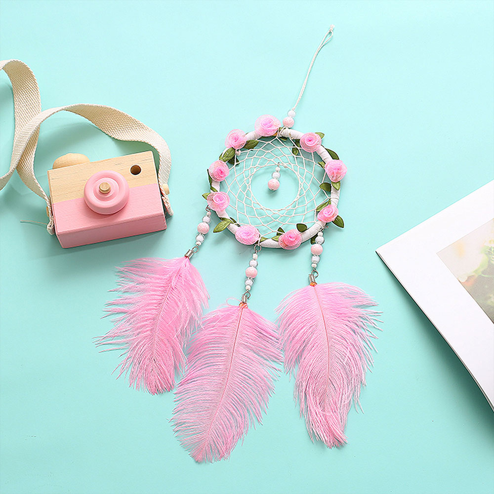 Dreamcatcher-Dream-Catcher-White-Pink-Colorful-Feather-Native-American-Indian thumbnail 15