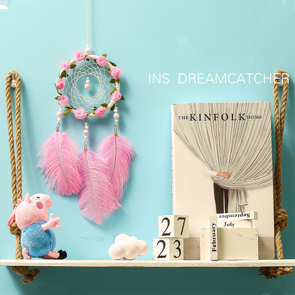Dreamcatcher-Dream-Catcher-White-Pink-Colorful-Feather-Native-American-Indian thumbnail 16