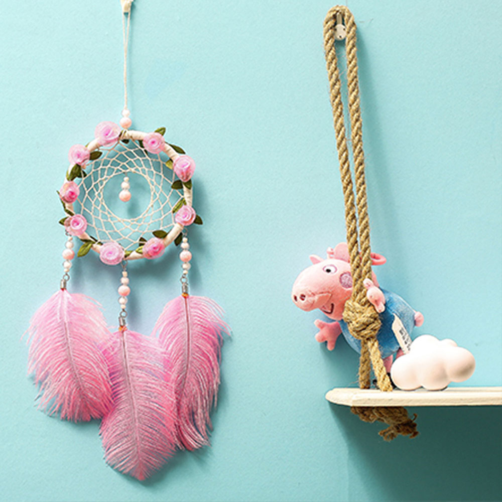Dreamcatcher-Dream-Catcher-White-Pink-Colorful-Feather-Native-American-Indian thumbnail 17