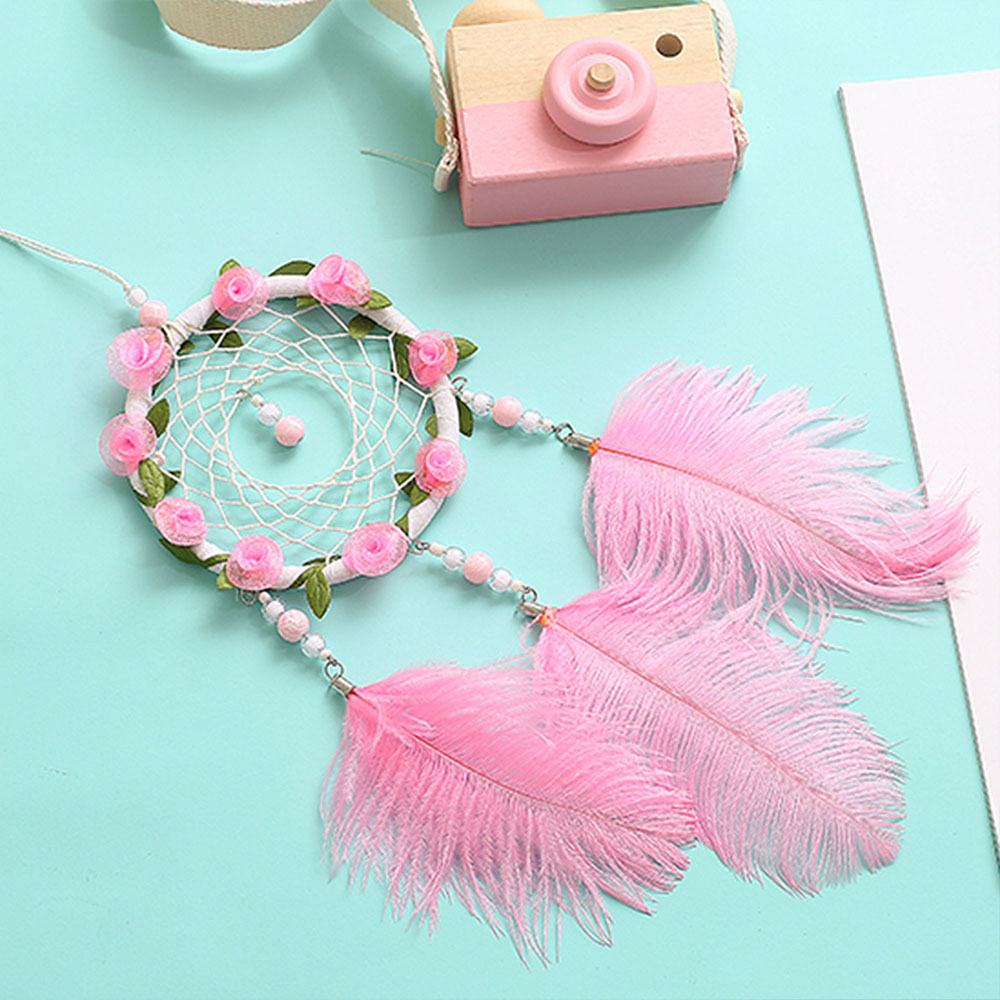 Dreamcatcher-Dream-Catcher-White-Pink-Colorful-Feather-Native-American-Indian thumbnail 18