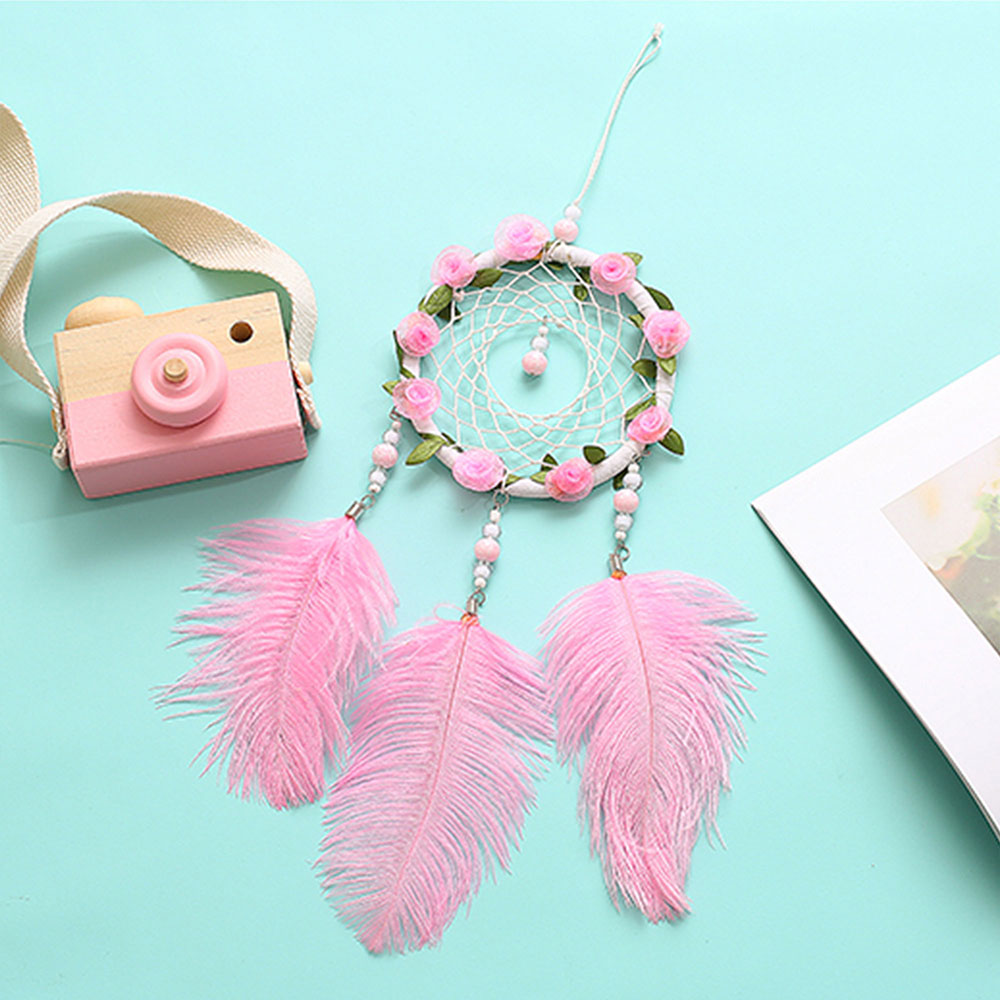 Dreamcatcher-Dream-Catcher-White-Pink-Colorful-Feather-Native-American-Indian thumbnail 19