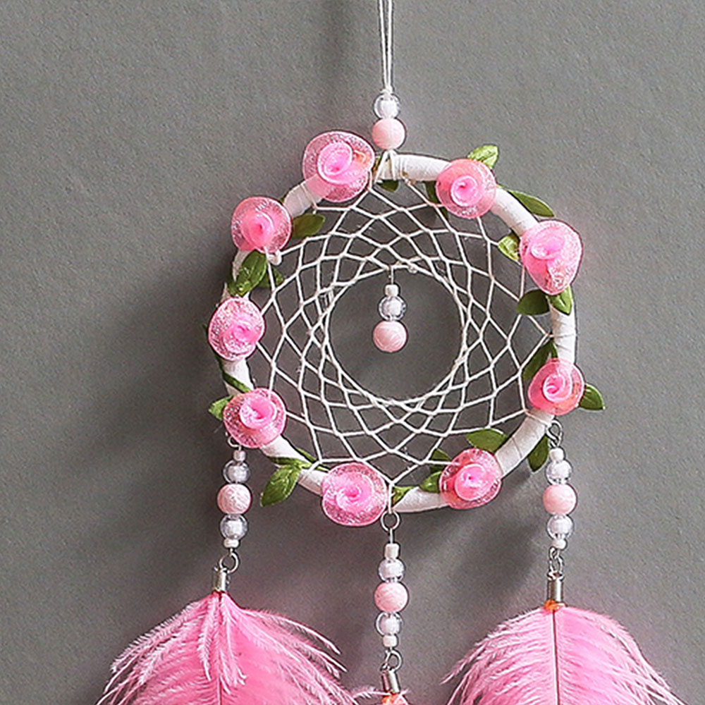 Dreamcatcher-Dream-Catcher-White-Pink-Colorful-Feather-Native-American-Indian thumbnail 20