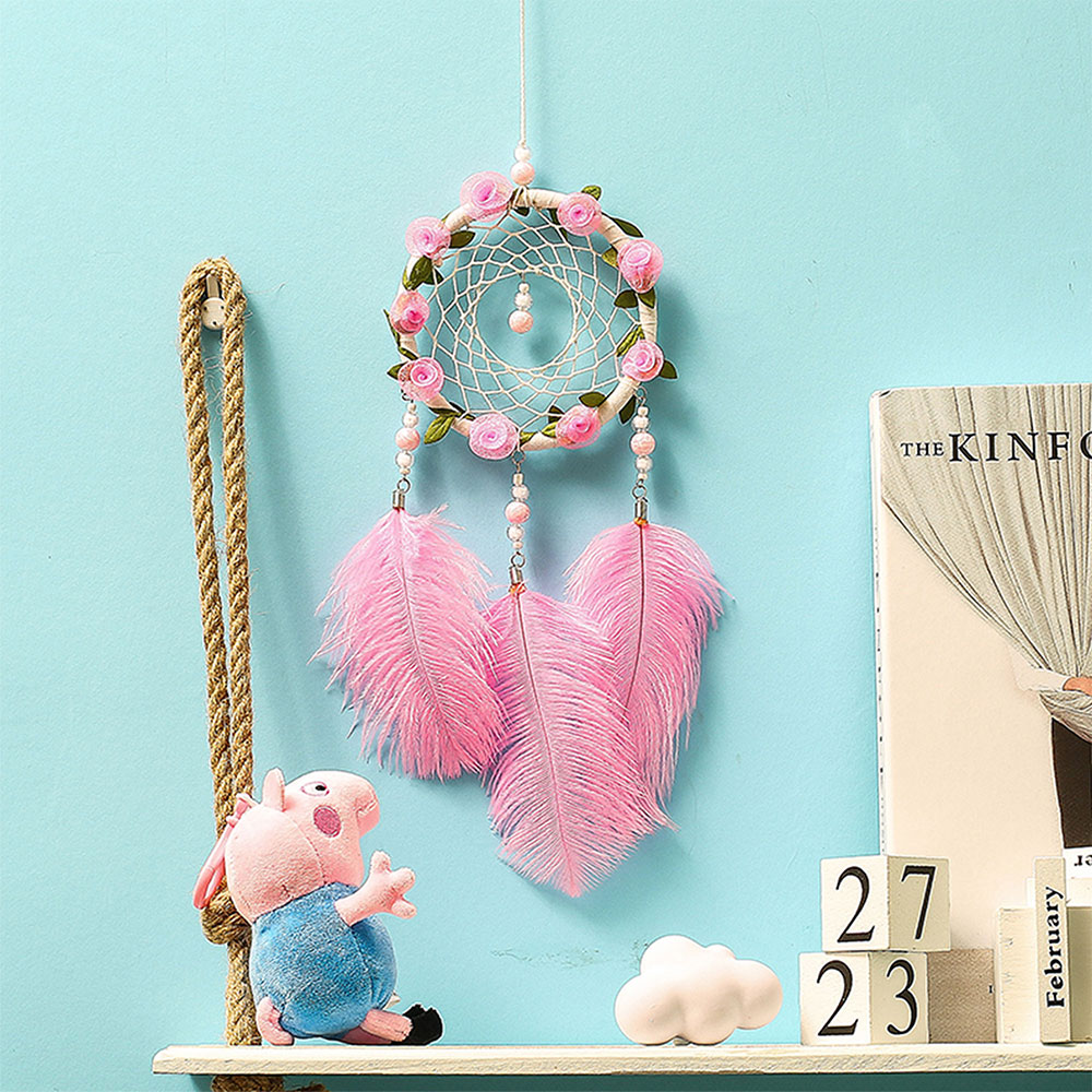 Dreamcatcher-Dream-Catcher-White-Pink-Colorful-Feather-Native-American-Indian thumbnail 22