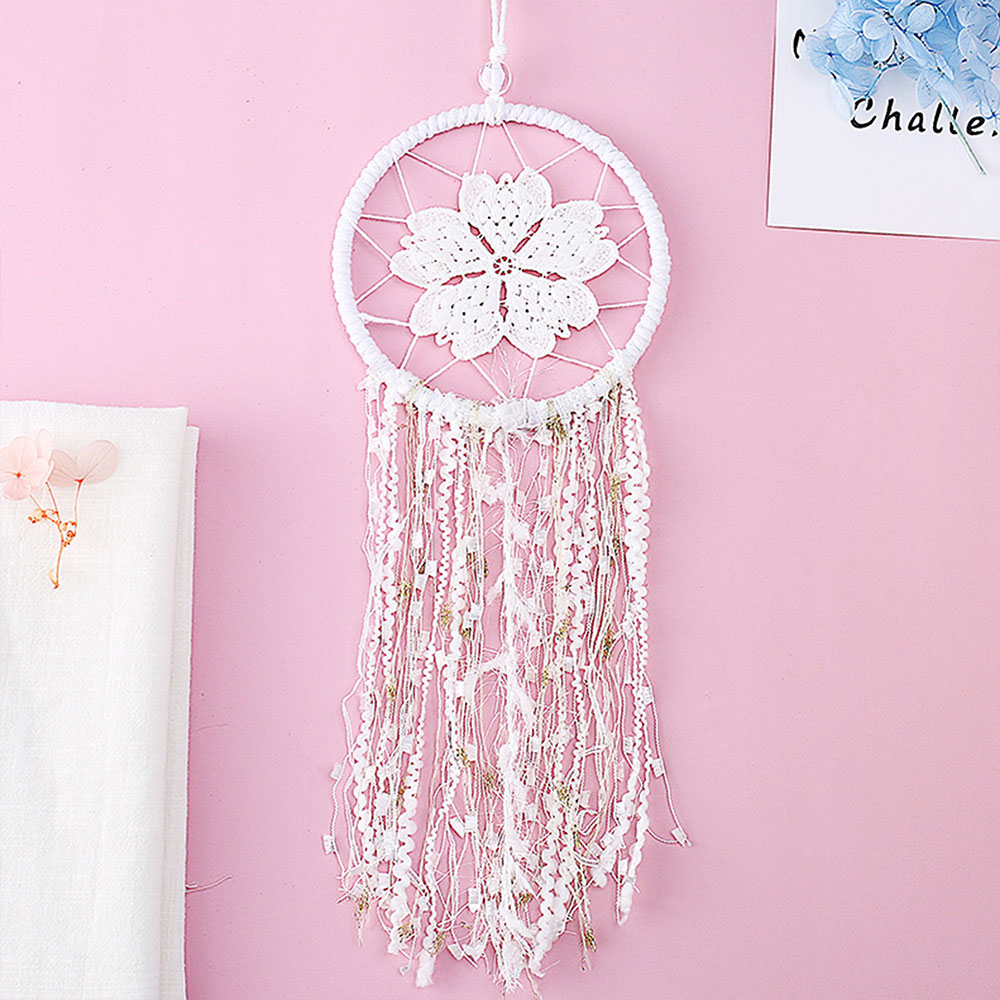 Dreamcatcher-Dream-Catcher-White-Pink-Colorful-Feather-Native-American-Indian thumbnail 26