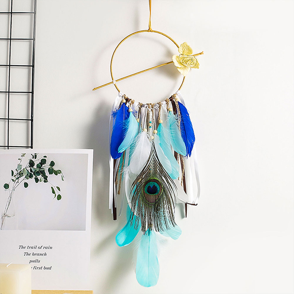 Dreamcatcher-Dream-Catcher-White-Pink-Colorful-Feather-Native-American-Indian thumbnail 30